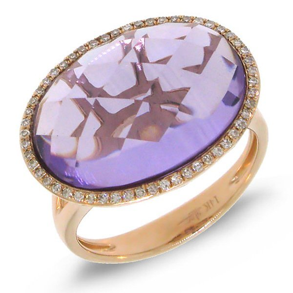 New 14KT Rose Gold 10.43 ctw Diamond & Amethyst Ring