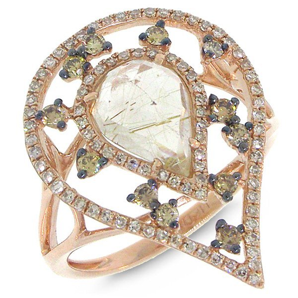 New 14KT Rose Gold 2.02 ctw White & Champagne Diamond &