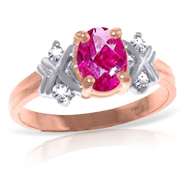 New 14KT Rose Gold 0.97 ctw Pink Topaz & Diamond Ring