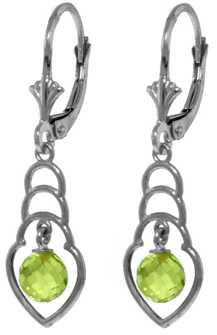 New 14KT White Gold 1.25 ctw Peridot Earrings