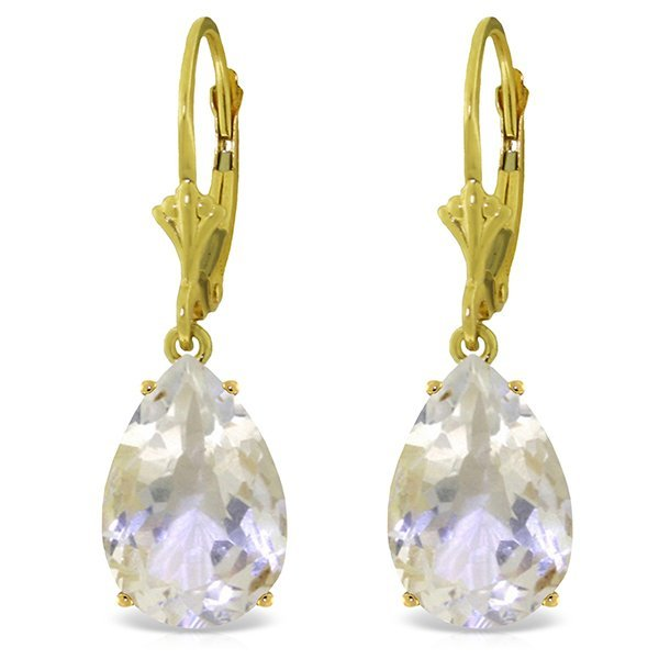New 14KT Yellow Gold 10 ctw White Topaz Earrings