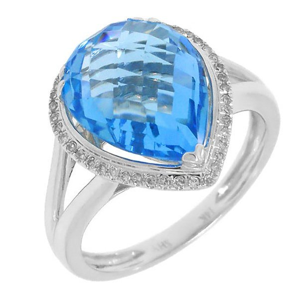New 14KT White Gold 6.11 ctw Diamond & Blue Topaz Ring