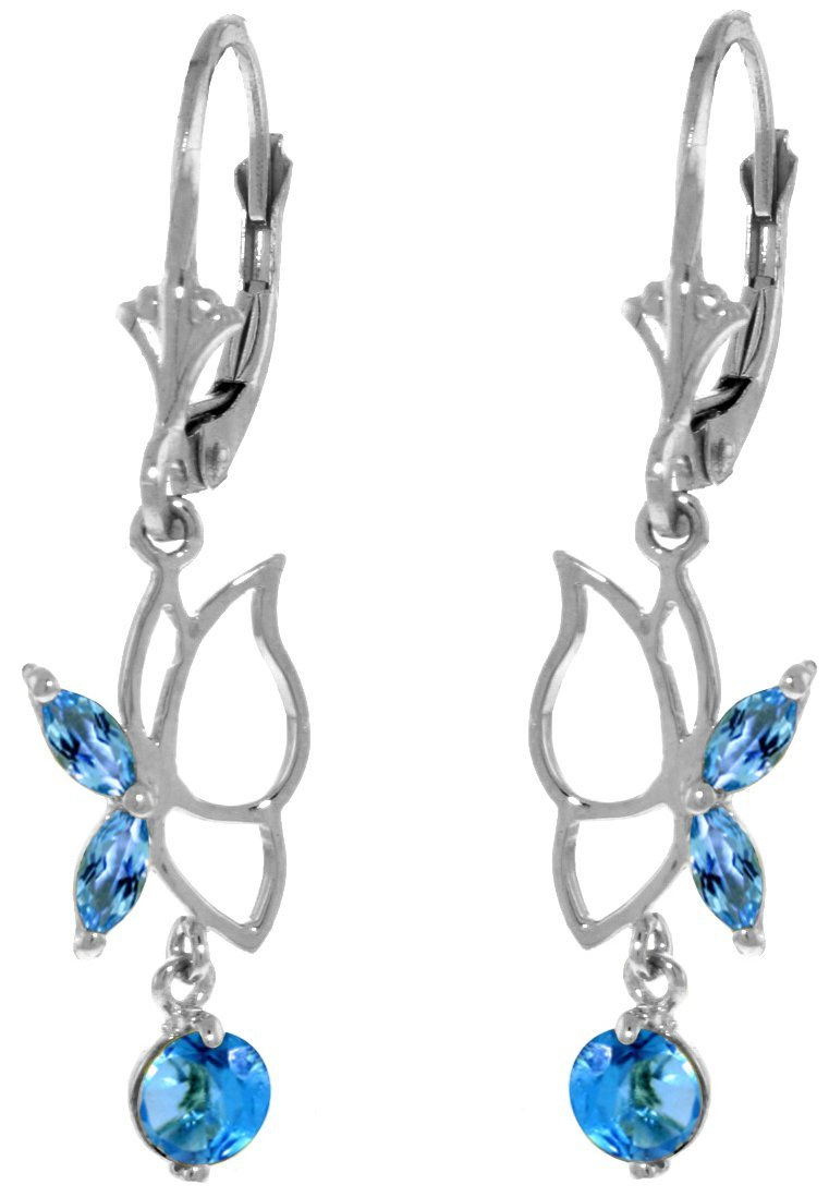 New 14KT White Gold 0.8 ctw Blue Topaz Earrings
