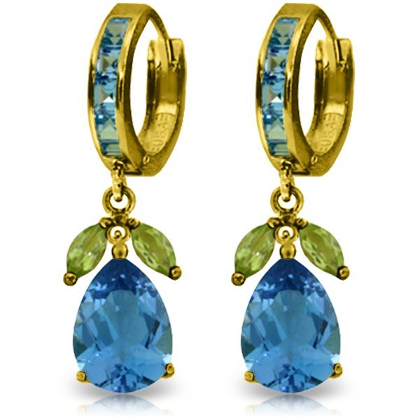 New 14KT Yellow Gold 14.3 ctw Blue Topaz & Peridot
