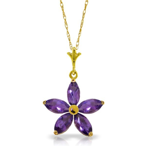 New 14KT Yellow Gold 1.4 ctw Amethyst Necklace