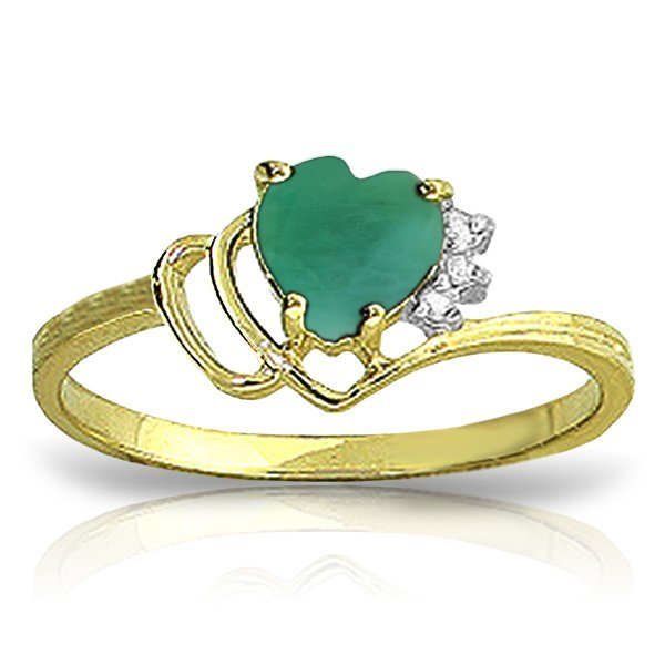 New 14KT Yellow Gold 1.02 ctw Emerald & Diamond Ring