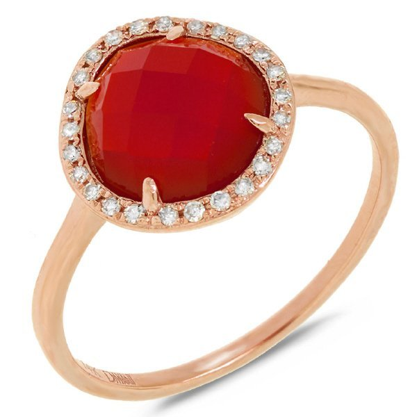 New 14KT Rose Gold 2.04 ctw Diamond & Red Agate Ring