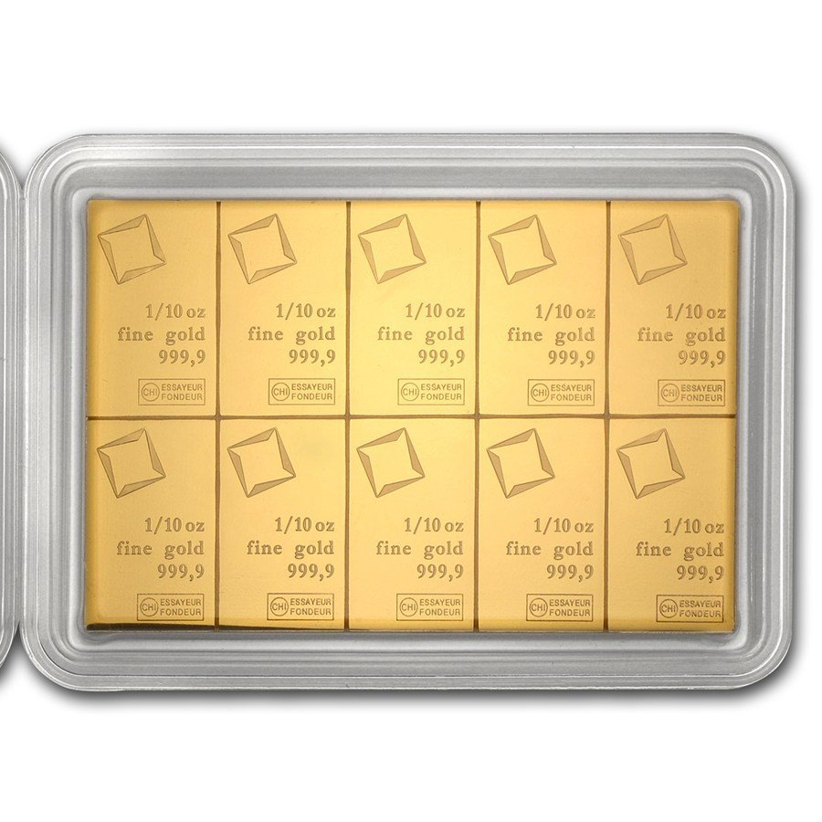 Fine Gold CombiBar 10x 1/10 oz - Valcambi (In Assay)