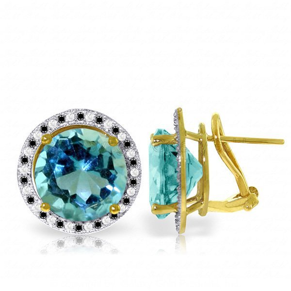 New 14KT Yellow Gold Jewelry 16 ctw Blue Topaz, White &