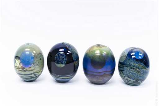 4 John Lewis Art Glass Moon Vases