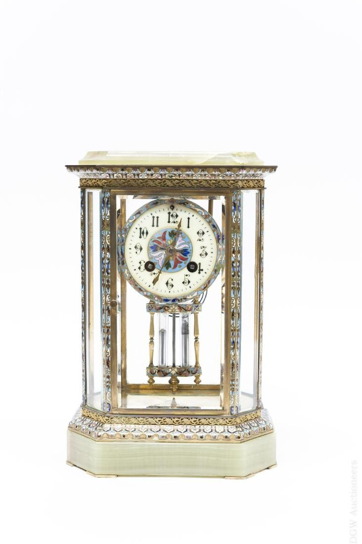 French Cloissonne and Onyx Shelf Clock.