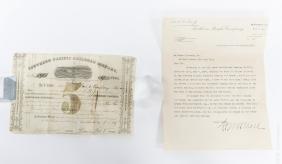1857 Stock Certificate.