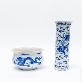 Chinese Blue and White Basin and a Vase.