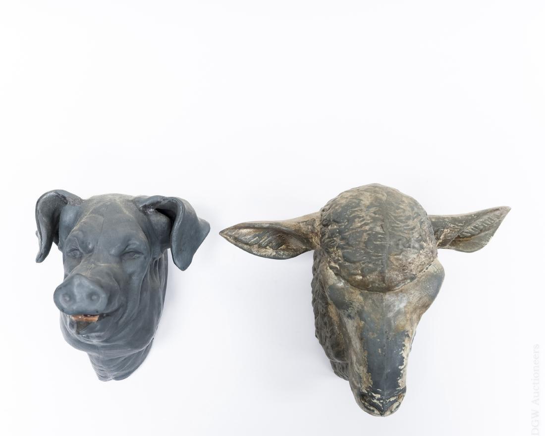 Butcher Shop Tin Displays; Sheep & Pig.