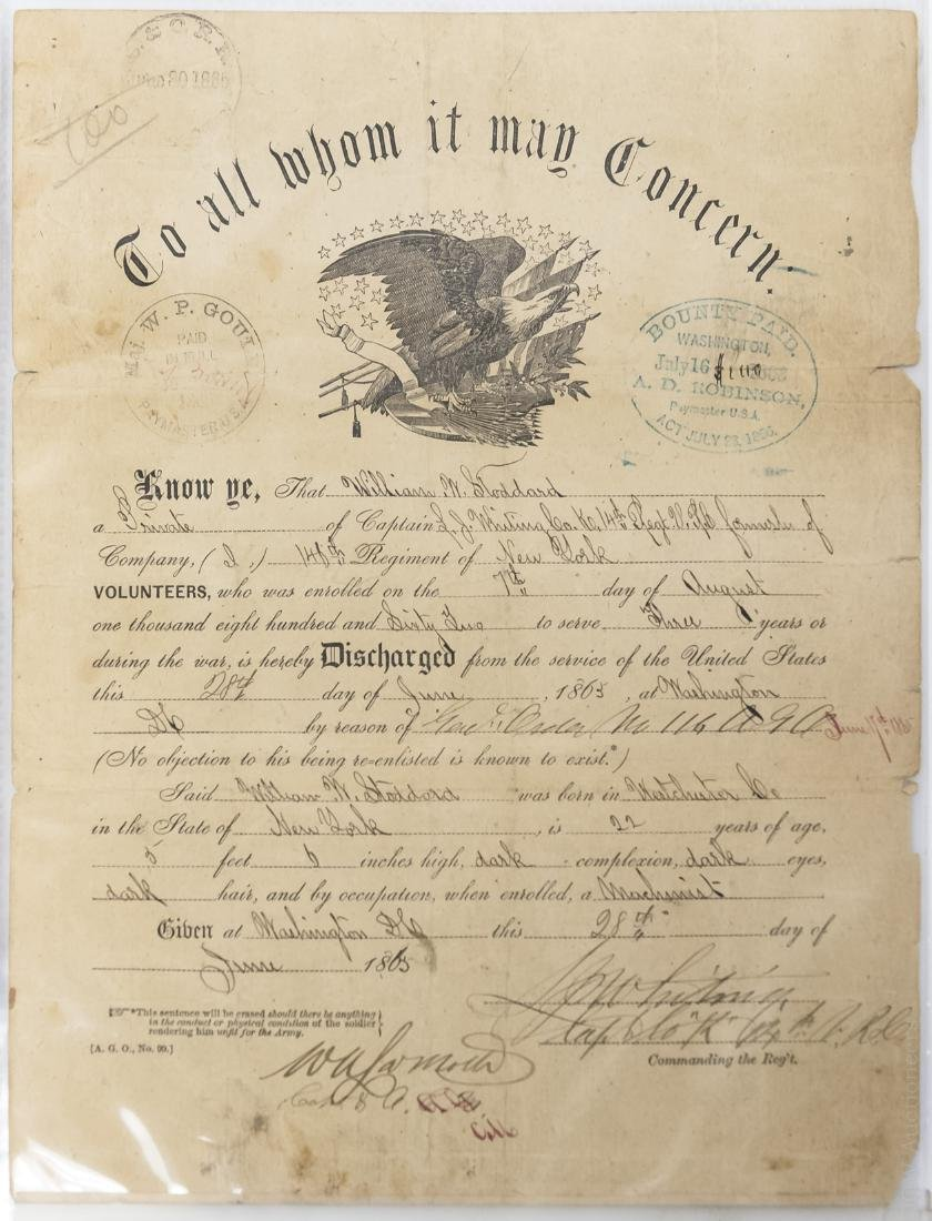 Civil War Discharge Document for William Stoddard.