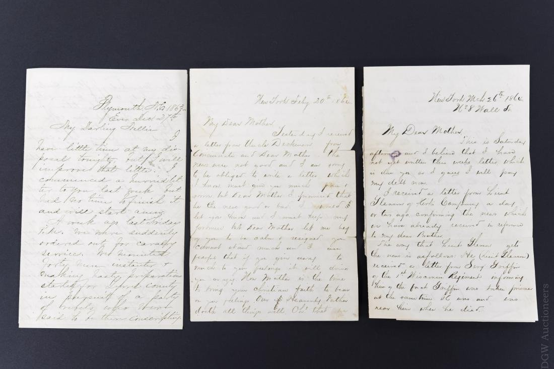 (3) Civil War Era Letters from Rufus B. Cowing.