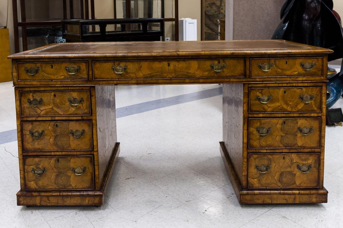 19th C. Oyster Walnut Veneer Partner's Desk.