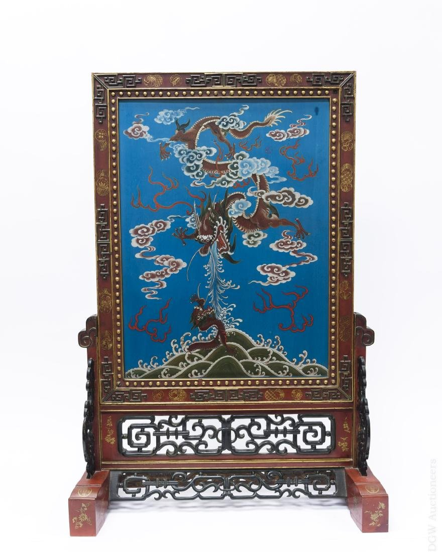 Chinese Polychrome Lacquered Table Screen.