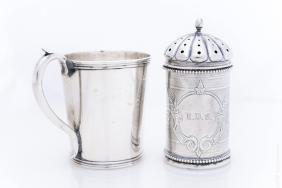 Coin Silver Cup & Powder Box.