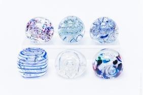 (6) Karg Art Glass Paperweights.