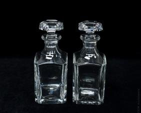 (2) Baccarat Clear Crystal Decanters.
