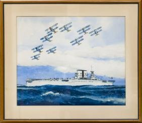 Alfred Owles Watercolor, F3Fs in Flight, near the