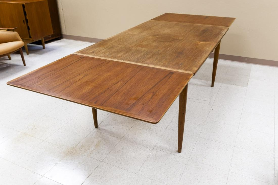 Teak Draw Leaf Table w/ 12 Danish Teak Chairs. - 3