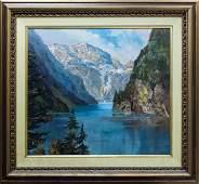 Herbert Uerpmann Oil on Canvas, Mountain Lake.