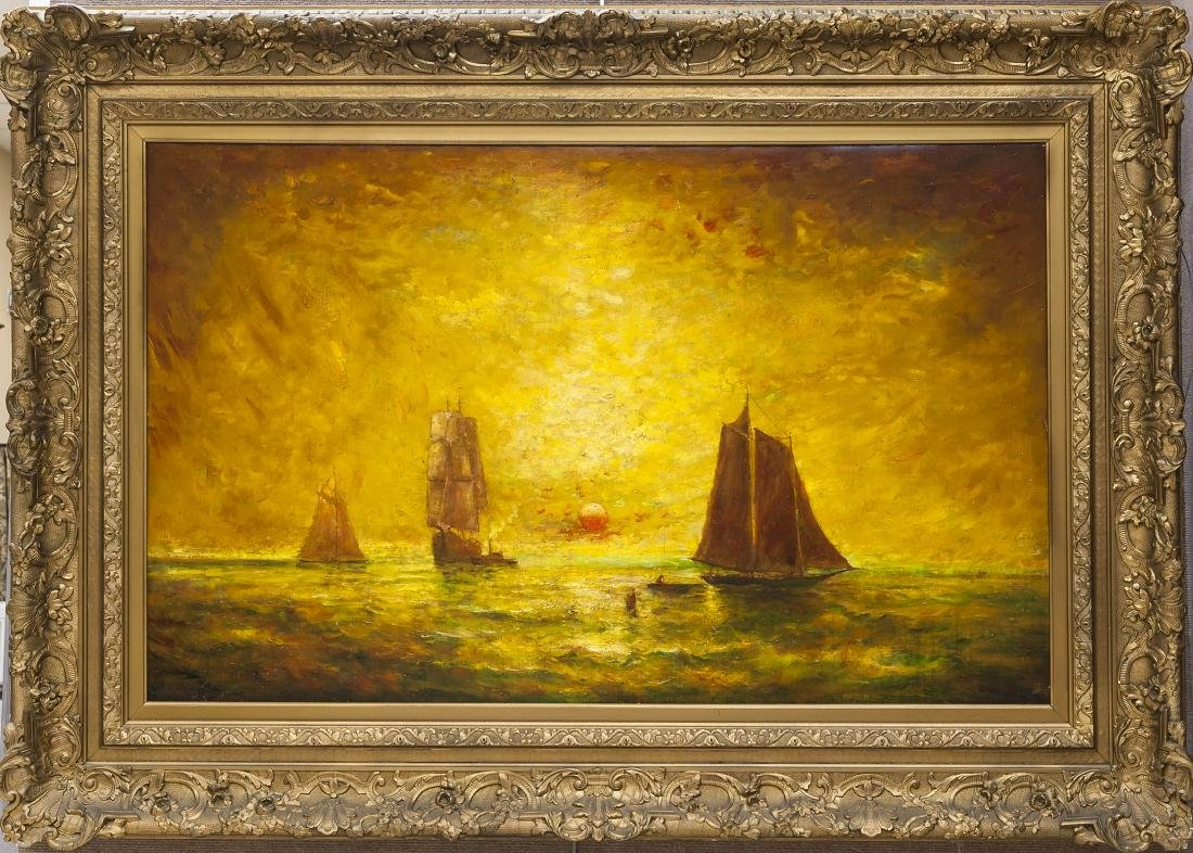 Hudson Kitchell Oil on Canvas, Sailing Ships.