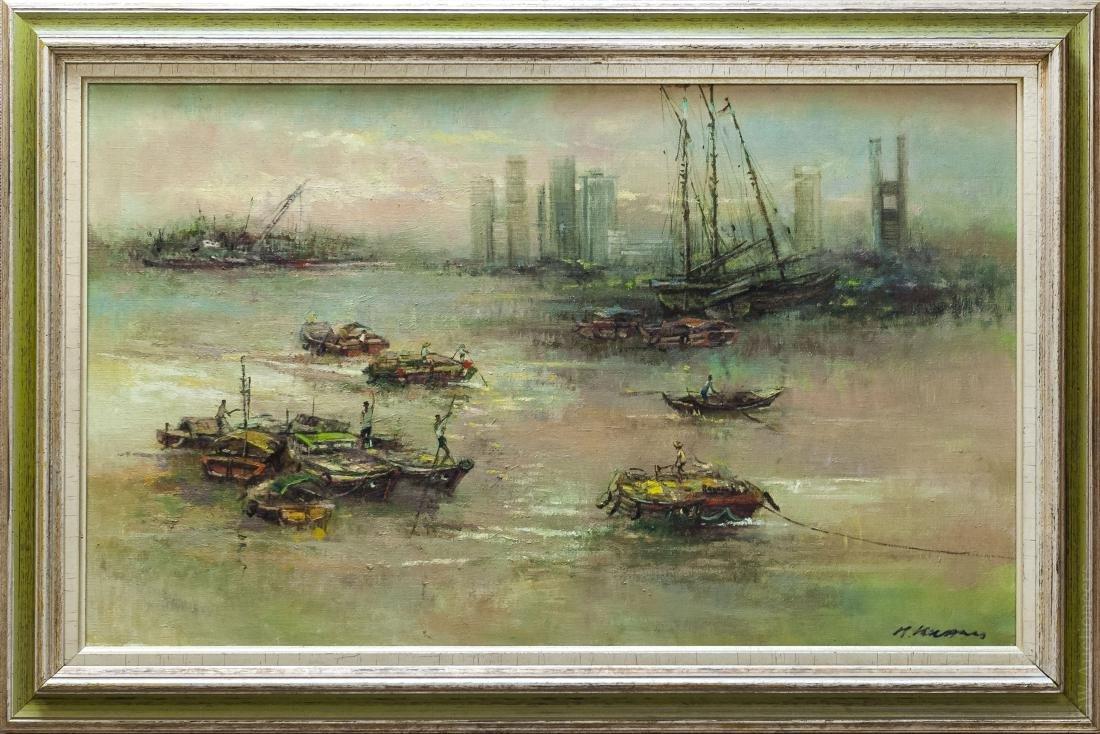 Choo Keng Kwang, Oil on Canvas, Singapore Skyline.