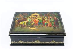 Large Fedoskino Russian Lacquer Box.