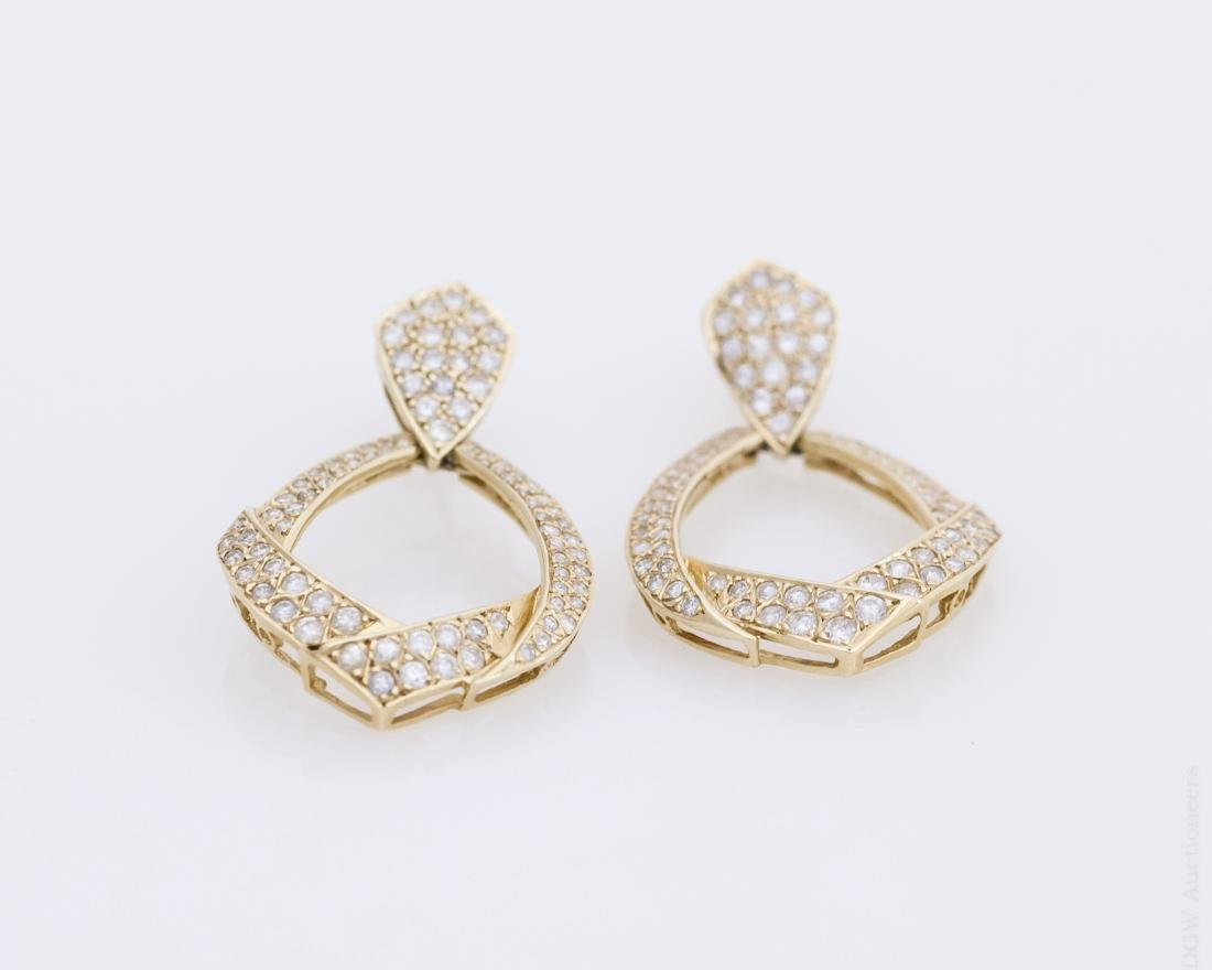 Pair of 14K Gold and Diamond Earrings.