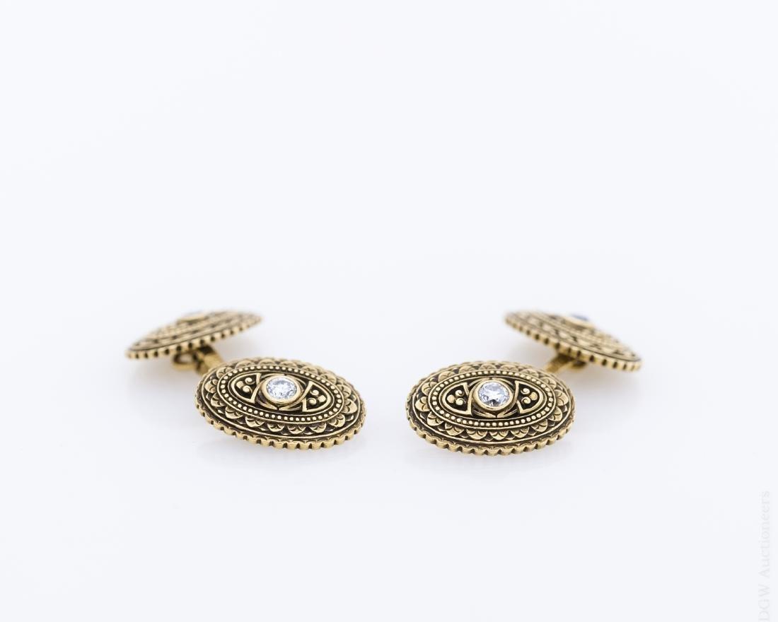 Pair of Vintage Gold and Diamond Cufflinks.