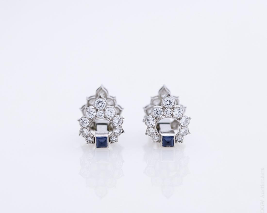 Pair of Vintage Diamond and Sapphire Cuff Links.