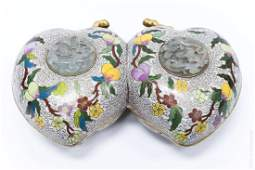 Oriental Cloisonne Box with Jade Medallions.