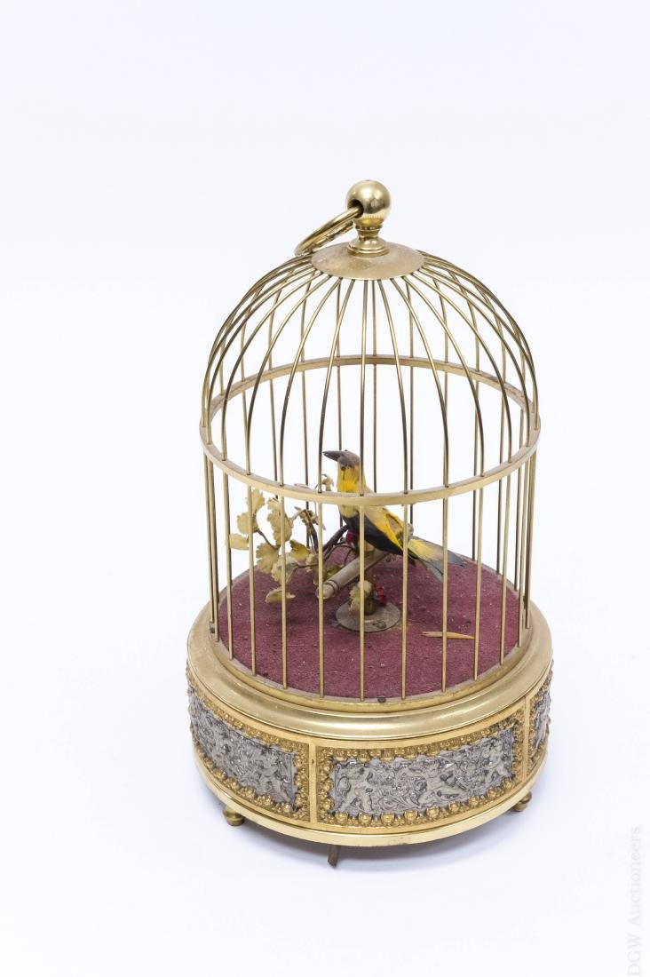 Early 20th C. Bird Cage Music Box. - 2