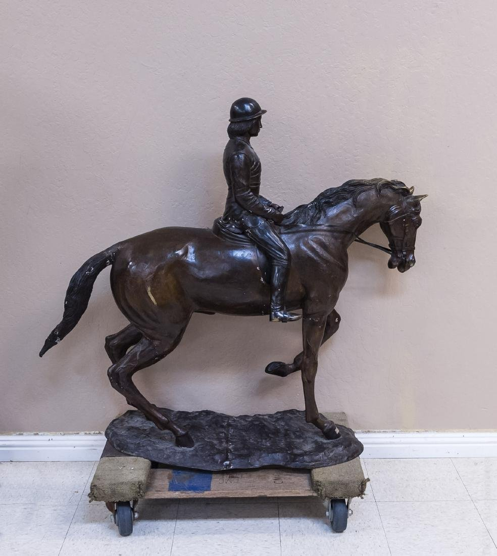 Cast Bronze Sculpture, Woman on a Horse. - 2