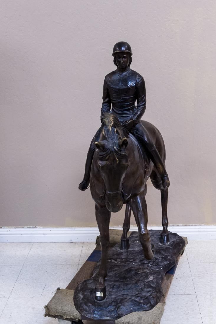 Cast Bronze Sculpture, Woman on a Horse. - 3