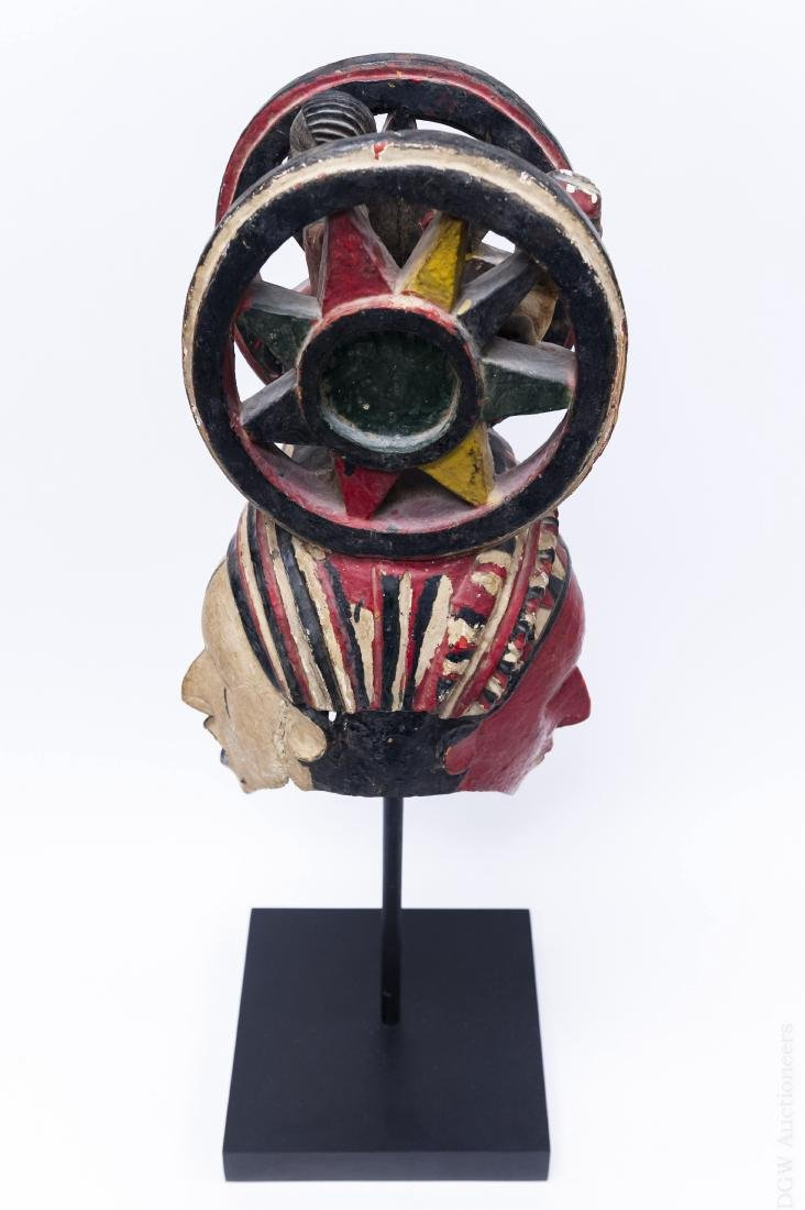 Polychrome Double Mask Sculpture on Stand.