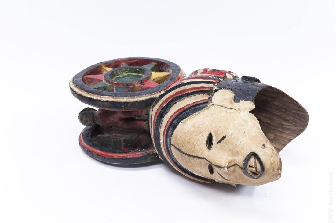 Polychrome Double Mask Sculpture on Stand. - 2