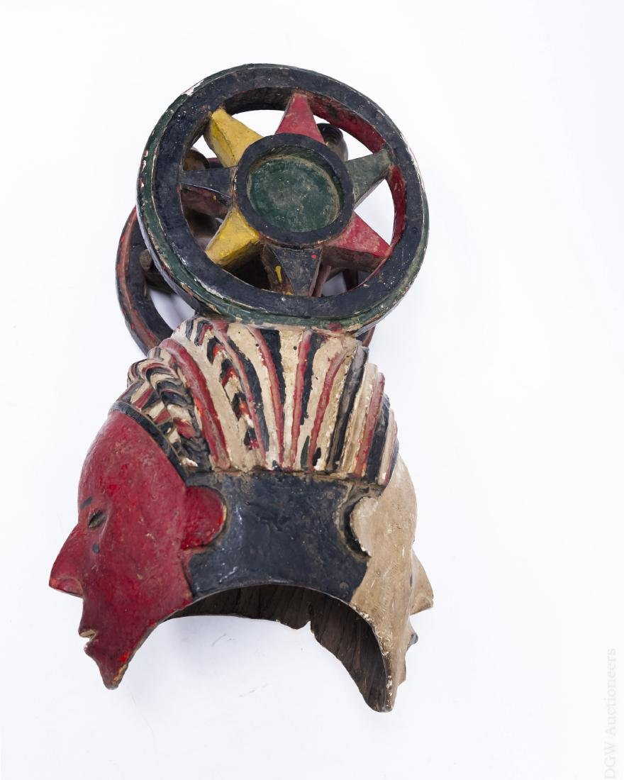 Polychrome Double Mask Sculpture on Stand. - 4