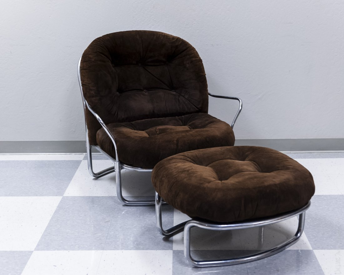 Mid Century Modern Upholstered Chair and Ottoman.