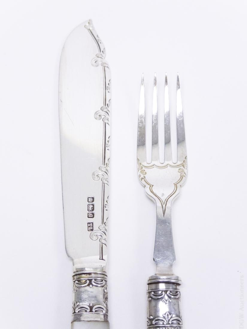English Sterling Silver Knife and Fork Service. - 6