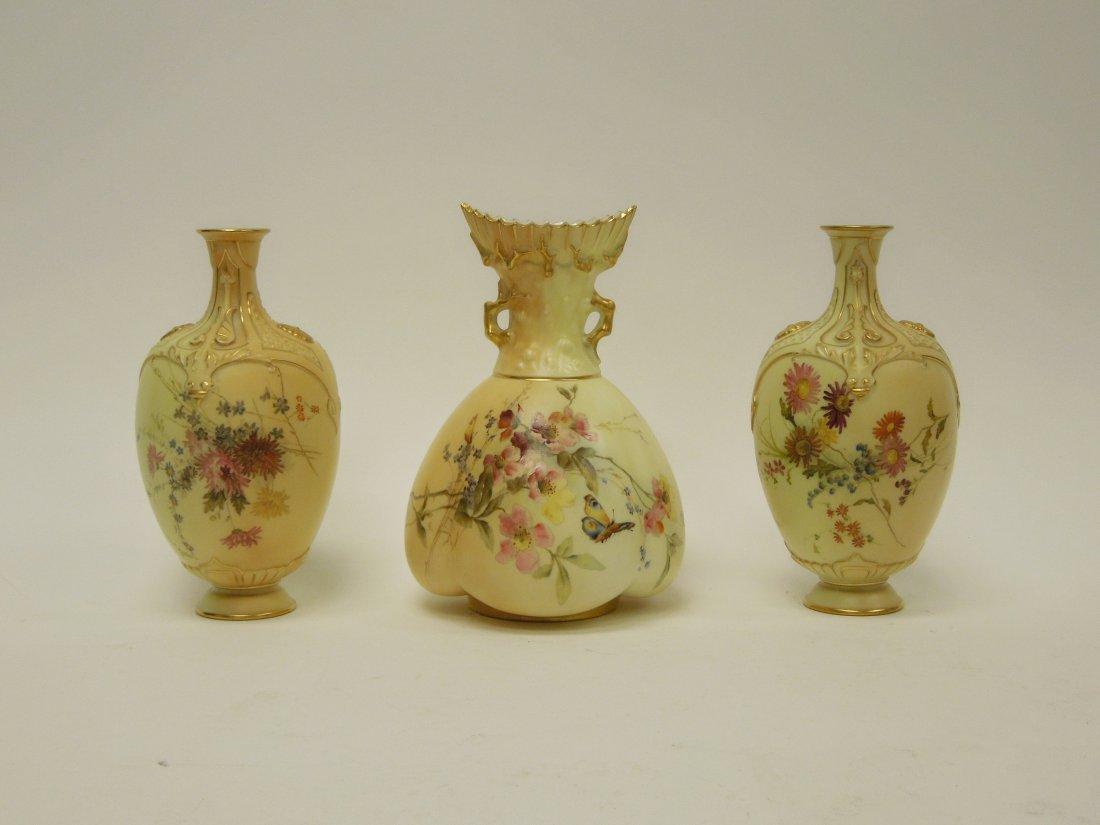 (3) 19th C. Royal Worcester Porcelain Vases.
