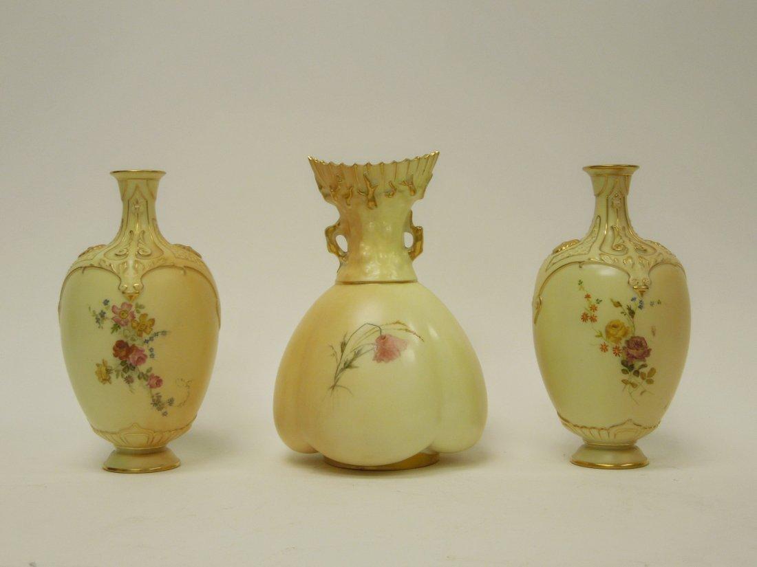 (3) 19th C. Royal Worcester Porcelain Vases. - 5