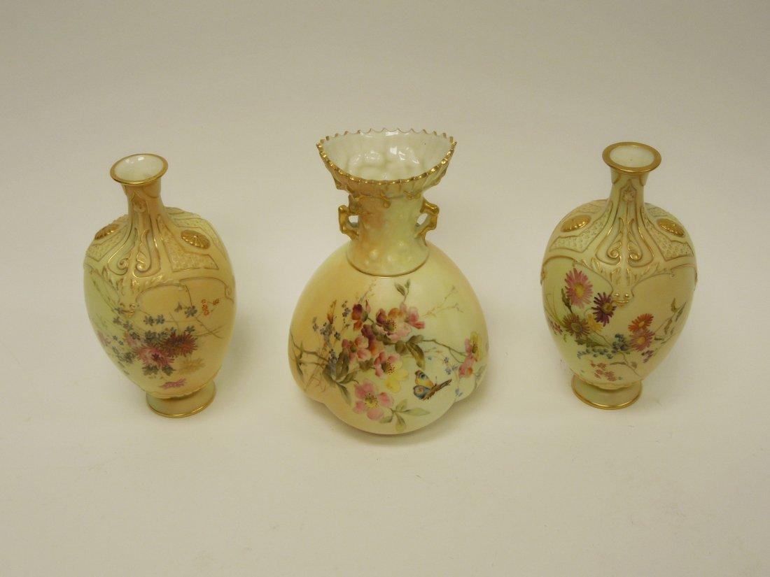 (3) 19th C. Royal Worcester Porcelain Vases. - 6