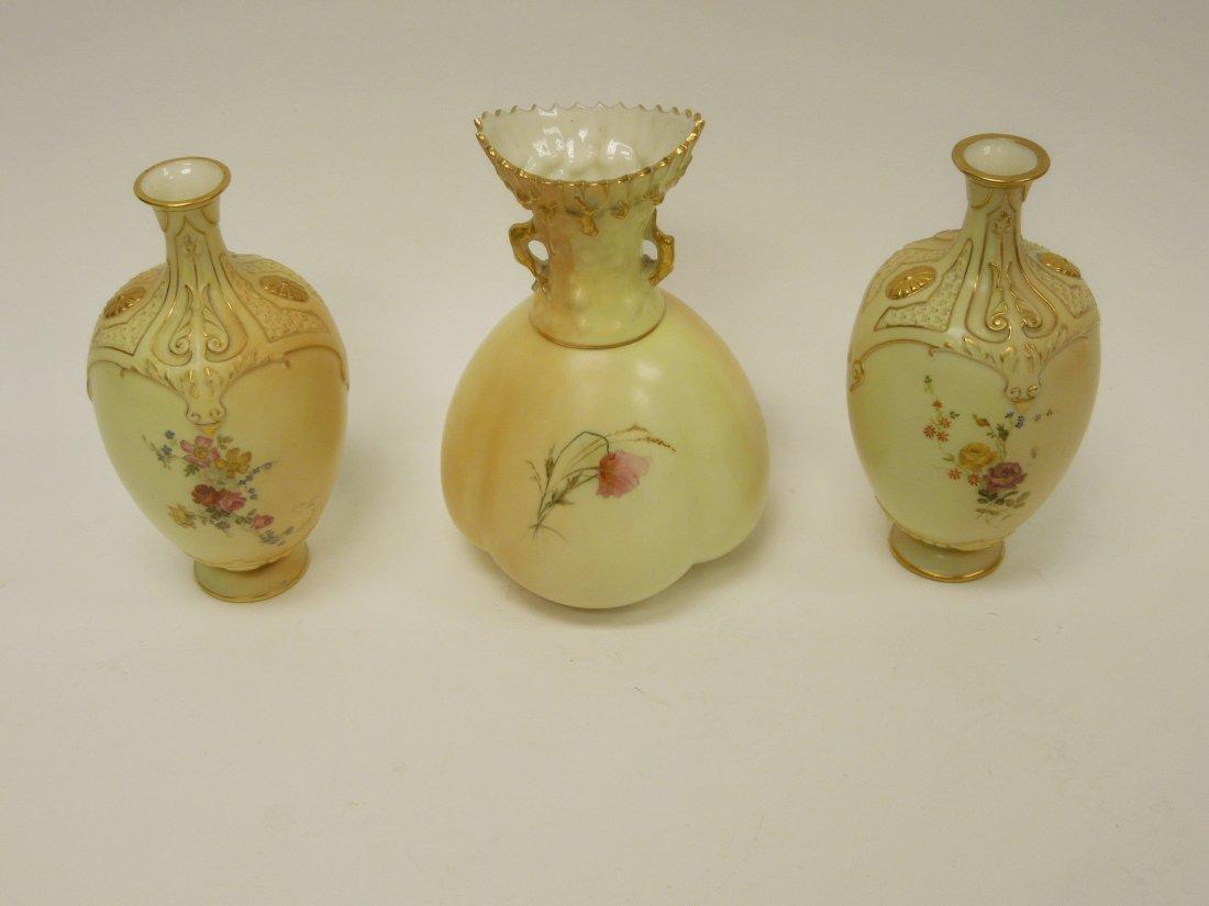 (3) 19th C. Royal Worcester Porcelain Vases. - 7