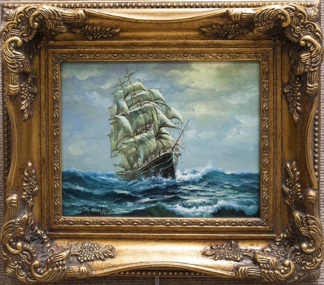 F. Taylor Oil on Canvas, Sailing Ship.
