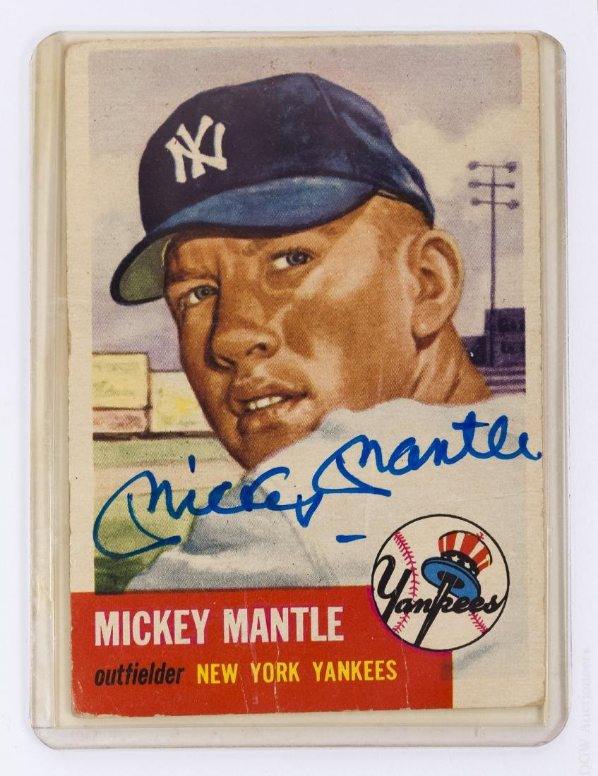 1953 Topps Mickey Mantle Signed Baseball Card.