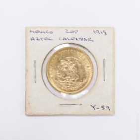 1918 Mexico 20 Peso Gold Coin.